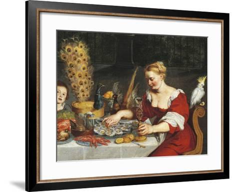 Woman Eating Oysters, Detail from Allegory of Four Elements, Jan Bruegel Elder, Velvet Bruegel--Framed Art Print