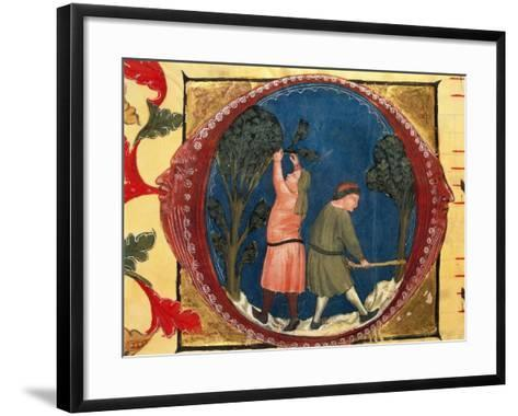 Illuminated Initial Capital Letter O with Agricultural Scenes in the Centre by Turone--Framed Art Print