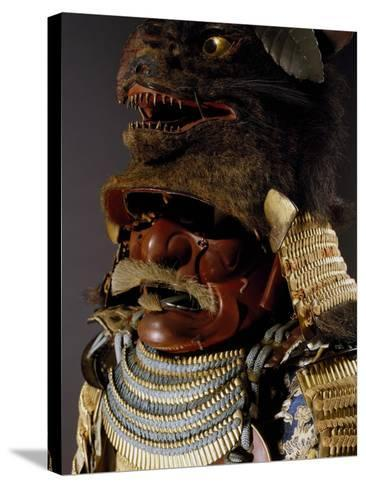 Iroiro Kebiki Odoshi Nimai-Do Gusoku, Samurai Armor with Helmet from Previous Era, Edo Period--Stretched Canvas Print