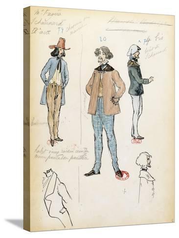 France, Paris, Costume Sketch for Musician Schaunard in Opera La Boheme by Giacomo Puccini--Stretched Canvas Print