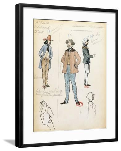 France, Paris, Costume Sketch for Musician Schaunard in Opera La Boheme by Giacomo Puccini--Framed Art Print