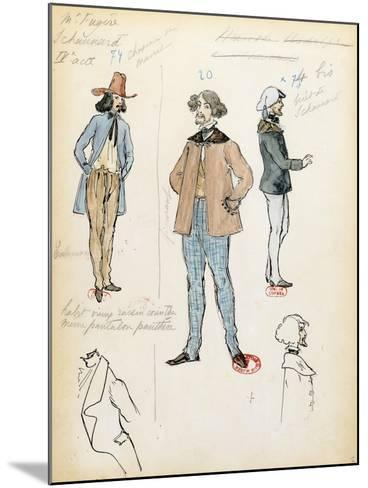 France, Paris, Costume Sketch for Musician Schaunard in Opera La Boheme by Giacomo Puccini--Mounted Giclee Print