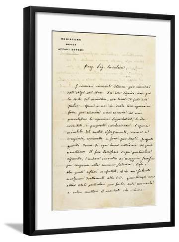 Italy, Sant'Agata Di Villanova Sull'Arda, Letter from Statesman Camillo Benso Count of Cavour--Framed Art Print