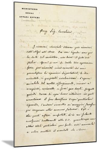 Italy, Sant'Agata Di Villanova Sull'Arda, Letter from Statesman Camillo Benso Count of Cavour--Mounted Giclee Print