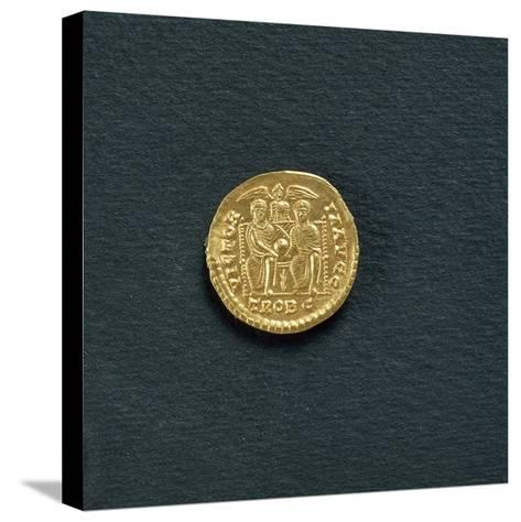 Solidus of Emperor Valentinian I from 367 A.D, Coin Reverse with Emperors Valentinian--Stretched Canvas Print