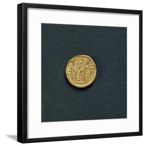 Solidus of Emperor Valentinian I from 367 A.D, Coin Reverse with Emperors Valentinian--Framed Art Print