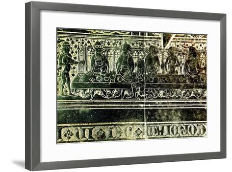 The Peacock Feast for King Edward III in 1349, Detail from Brass to Robert Braunche, 1364--Framed Art Print