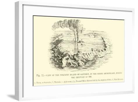 View of the Volcanic Island of Santorin, in the Greek Archipelago, During the Eruption of 1866--Framed Art Print