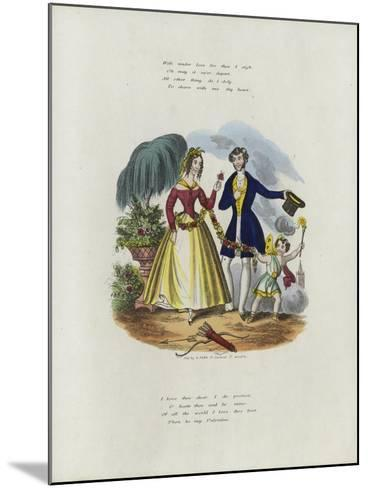 British Valentine Card with an Image of a Cherub Pulling a Woman Along with a String of Flowers--Mounted Giclee Print