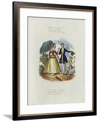 British Valentine Card with an Image of a Cherub Pulling a Woman Along with a String of Flowers--Framed Art Print