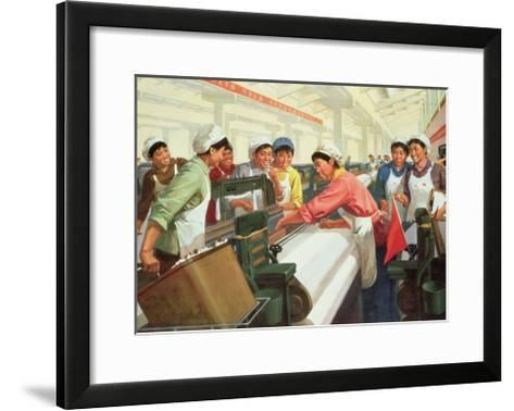Weaving Cloth for the People, Propaganda Poster from the Chinese Cultural Revolution, 1970--Framed Art Print