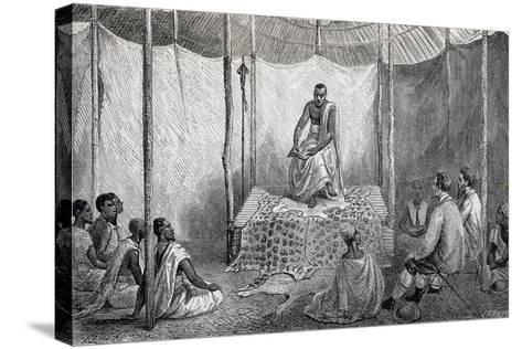 King Kamrasi, Uganda, Engraving from Source of Nile, Diary of Voyage of Captain John Hanning Speke--Stretched Canvas Print