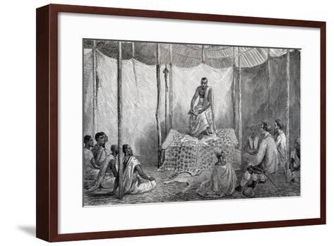 King Kamrasi, Uganda, Engraving from Source of Nile, Diary of Voyage of Captain John Hanning Speke--Framed Art Print