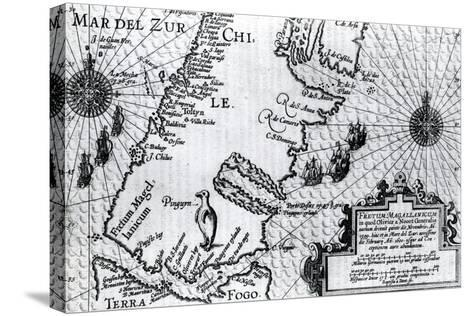 Map of the Strait of Magellan, Plate from Oliver Van Noort's Description of His Voyage, 1602--Stretched Canvas Print