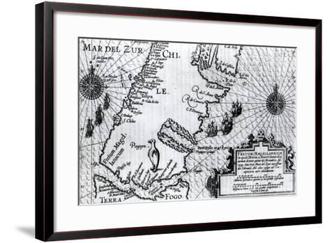 Map of the Strait of Magellan, Plate from Oliver Van Noort's Description of His Voyage, 1602--Framed Art Print