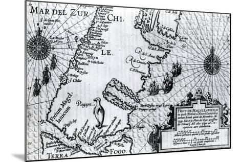 Map of the Strait of Magellan, Plate from Oliver Van Noort's Description of His Voyage, 1602--Mounted Giclee Print
