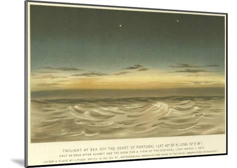Twilight at Sea Off the Coast of Portugal, Latitude 40° 29' N, Longitude 10° 0' W--Mounted Giclee Print