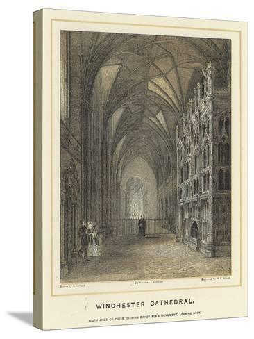 Winchester Cathedral, South Aisle of Choir Showing Bishop Fox's Monument, Looking West--Stretched Canvas Print