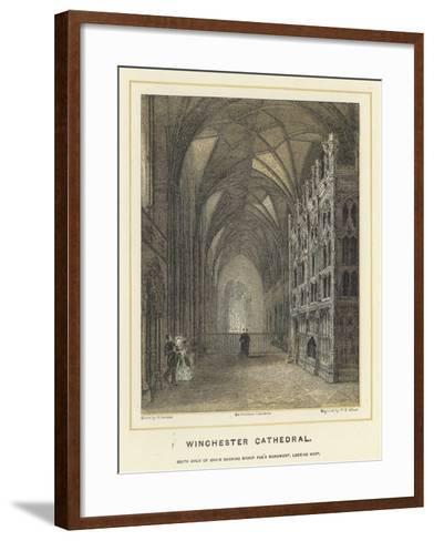 Winchester Cathedral, South Aisle of Choir Showing Bishop Fox's Monument, Looking West--Framed Art Print