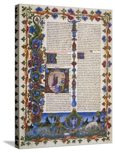 The End of Book of Solomon, from Volume I of Bible of Borso D'Este, Illuminated by Taddeo Crivelli--Stretched Canvas Print