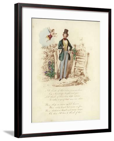 British Valentine Card with an Image of a Cherub Delivering a Valentine's Card to a Man--Framed Art Print
