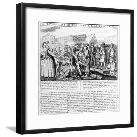 The Player's Last Refuge, or the Strollers in Distress, Published by Bispham Dickinson, 1735--Framed Art Print