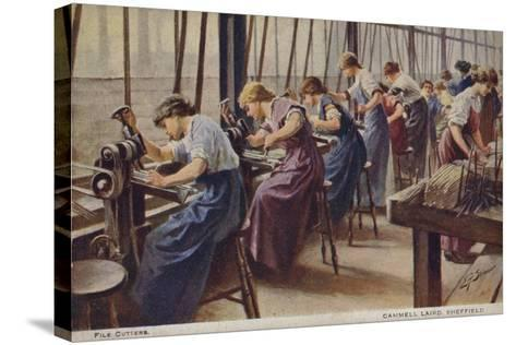 Women Working as File Cutters for Cammell Laird Marine Engineers, Sheffield, Yorkshire, 1917--Stretched Canvas Print