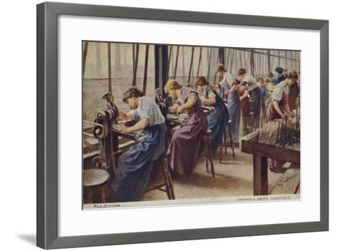 Women Working as File Cutters for Cammell Laird Marine Engineers, Sheffield, Yorkshire, 1917--Framed Art Print