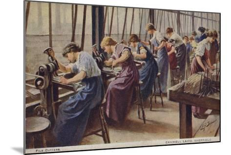 Women Working as File Cutters for Cammell Laird Marine Engineers, Sheffield, Yorkshire, 1917--Mounted Giclee Print
