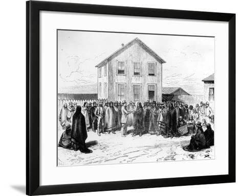 General Crook Investigating Spotted Tail with the Command of the Dakota Indians--Framed Art Print