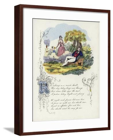 British Valentine Card with an Image of a Man and a Woman in a Garden with a Cherub--Framed Art Print