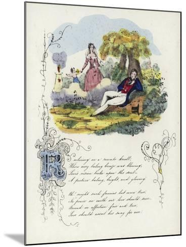 British Valentine Card with an Image of a Man and a Woman in a Garden with a Cherub--Mounted Giclee Print