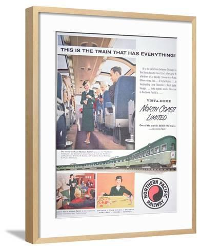 Advertisement for the 'Vista-Dome North Coast Limited' Train of the Northern Pacific Railway, 1956--Framed Art Print