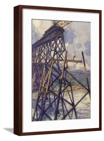 Setting the Steel of the Battle River Viaduct of the Grand Trunk Pacific Railway, Canada--Framed Art Print