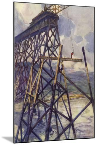 Setting the Steel of the Battle River Viaduct of the Grand Trunk Pacific Railway, Canada--Mounted Giclee Print