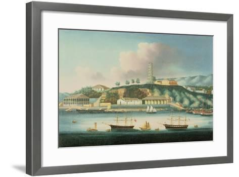 View of Whampoa Reach, with an English Barque, an American Ship and Sailing Boats--Framed Art Print