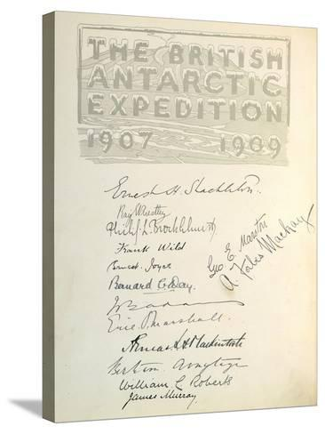 Page with Signatures from 'The Heart of the Antarctic'--Stretched Canvas Print