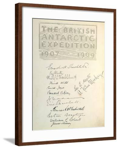 Page with Signatures from 'The Heart of the Antarctic'--Framed Art Print