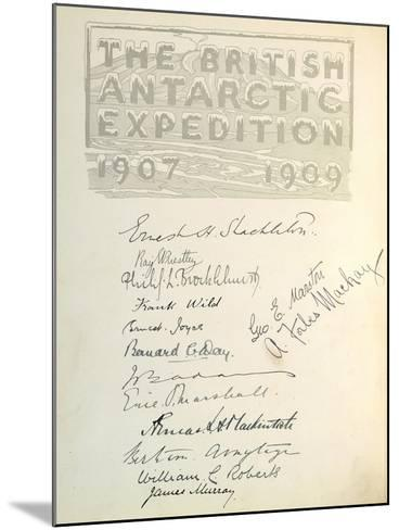Page with Signatures from 'The Heart of the Antarctic'--Mounted Giclee Print