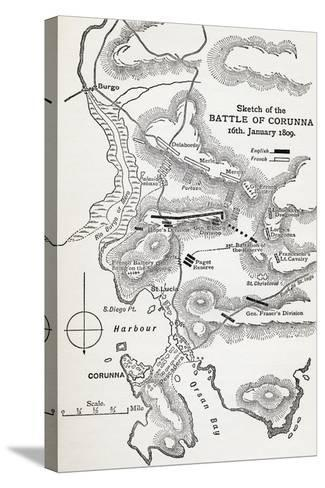 Map Showing the Site of the Battle of Corunna, Galicia, Spain on 16th January, 1809--Stretched Canvas Print