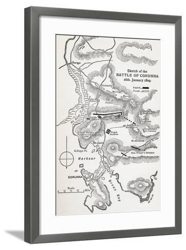 Map Showing the Site of the Battle of Corunna, Galicia, Spain on 16th January, 1809--Framed Art Print