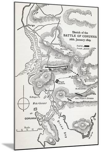 Map Showing the Site of the Battle of Corunna, Galicia, Spain on 16th January, 1809--Mounted Giclee Print