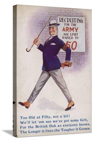 Smart English Gentleman Standing in Front of Poster for Recruiting Older Men to the Army--Stretched Canvas Print