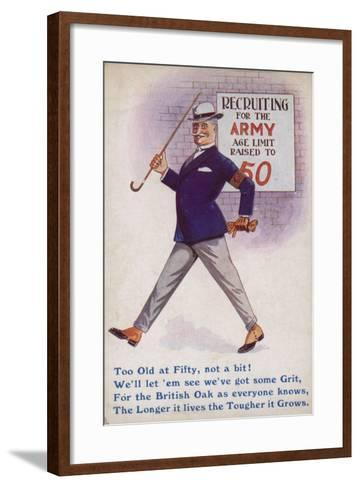 Smart English Gentleman Standing in Front of Poster for Recruiting Older Men to the Army--Framed Art Print