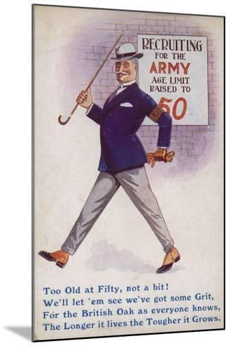 Smart English Gentleman Standing in Front of Poster for Recruiting Older Men to the Army--Mounted Giclee Print
