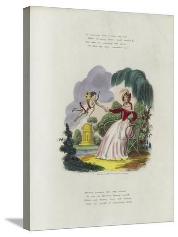 British Valentine Card with an Image of a Cherub Delivering a Valentine's Card to a Woman--Stretched Canvas Print