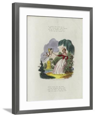 British Valentine Card with an Image of a Cherub Delivering a Valentine's Card to a Woman--Framed Art Print