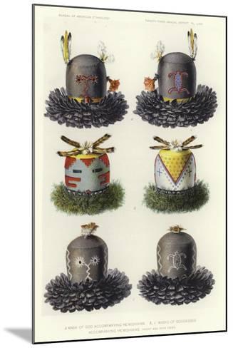 Mask of God Accompanying He'Mishikwe and Masks of Goddesses Accompanying He'Mishikwe--Mounted Giclee Print