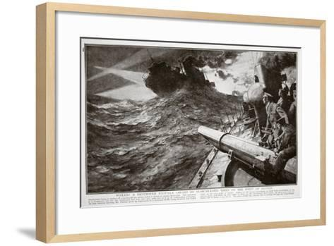 Foiled! a Destroyer Flotilla Caught by Searchlights When on the Point of Success--Framed Art Print