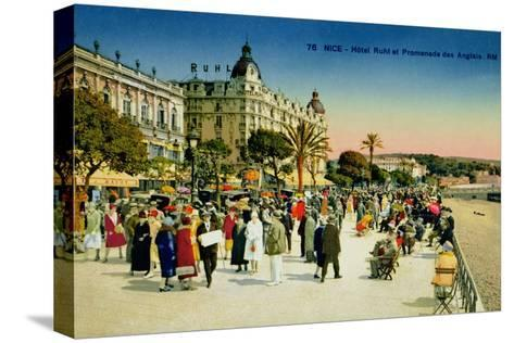 Postcard Depicting the Promenade Des Anglais and the Hotel Ruhl, Nice, C.1930--Stretched Canvas Print